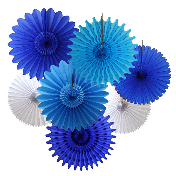 7-Piece Set of Blue & White Tissue Paper Fans, 13 & 18 Inches