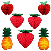 7-Piece Assorted Honeycomb Fruit Decorations, 7-13 Inches