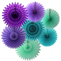 7-Piece Set of Mermaid Themed Tissue Paper Fans, 13 & 18 Inches