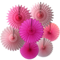 7-Piece Set of Pink Mix Tissue Paper Fans, 13 & 18 Inches