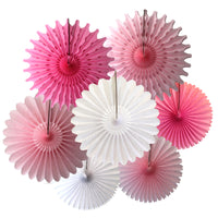 7-Piece Set of Princess Pink & White Tissue Paper Fans, 13 & 18 Inches