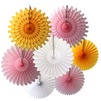 7-Piece Set of Princess Pink & Gold Tissue Paper Fans, 13 & 18 Inches