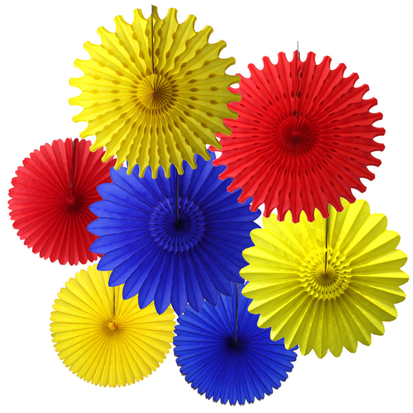 7-Piece Set of Red, Yellow, and Blue Tissue Paper Fans, 13 & 18 Inches
