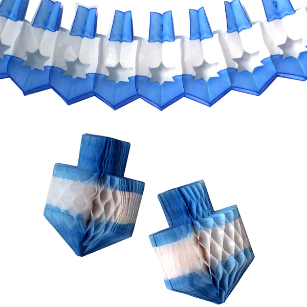 3-Piece Chanuka Decoration Set - Blue White