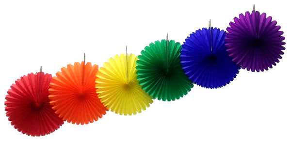 6-Piece Rainbow Themed Tissue Fans - MULTIPLE SIZES