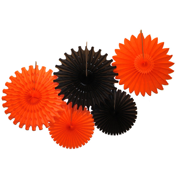 5-Piece Tissue Paper Fans, 13 & 18 Inches - Halloween Black & Orange