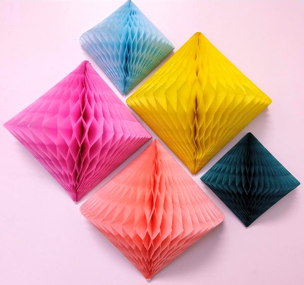 3-Pack 12 Inch Honeycomb Diamond Decorations - Solid Colors