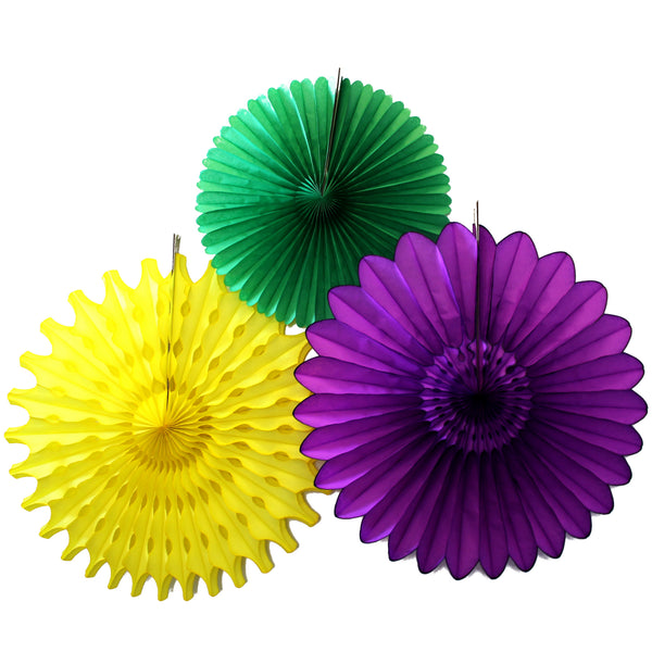 3-Piece Set of Tissue Paper Fans, 13 & 18 Inches - Mardi Gras