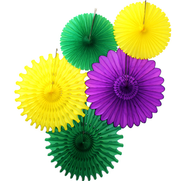 5-Piece Set of Tissue Paper Fans, 13 & 18 Inches - Mardi Gras