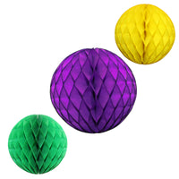 3-Piece Mardi Gras Honeycomb Balls, 8 & 12 Inches