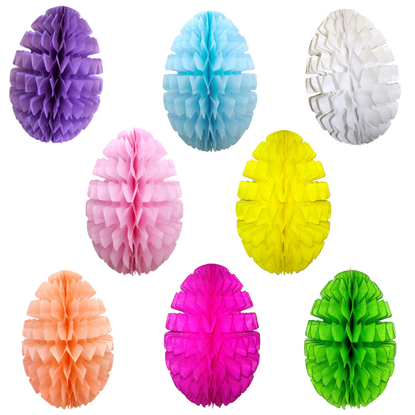 16 Inch Honeycomb Easter Egg Decoration (Single Egg) - Solid Colors