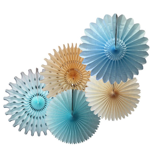 5-Piece Set of Tissue Paper Fans, 13 & 18 Inches - Baby Blue