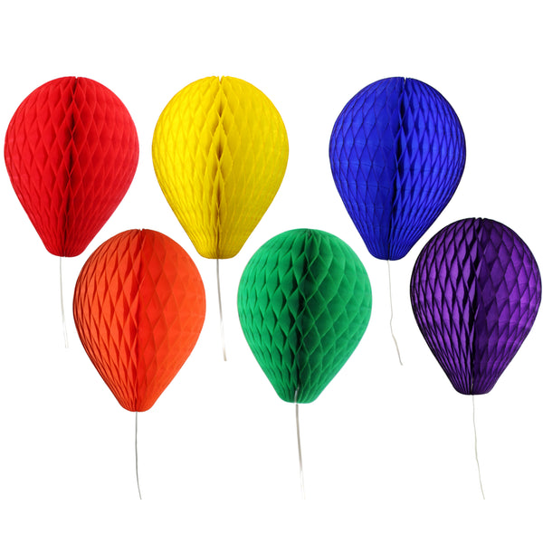 6-Piece Classic Rainbow Themed 11 Inch Honeycomb Balloons