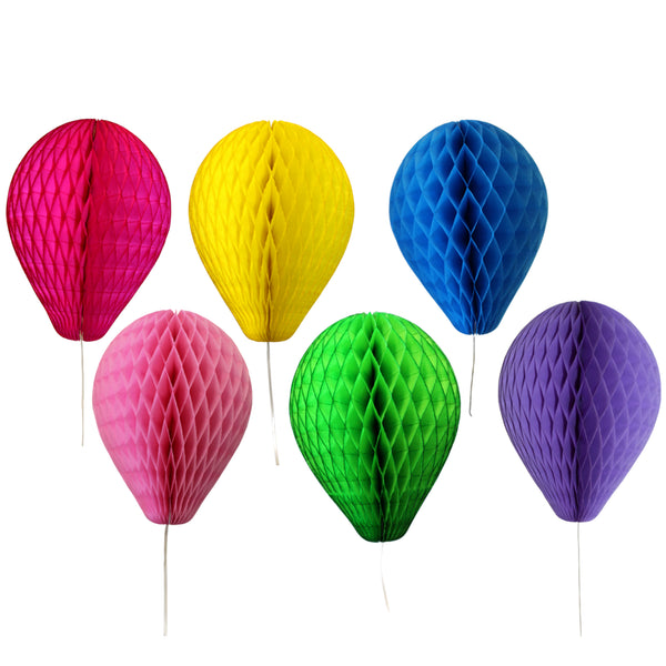 6-Piece Bright Rainbow Themed 11 Inch Honeycomb Balloons