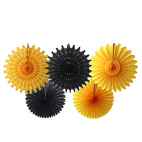 5-Piece Tissue Paper Fans, 13 & 18 Inches - Black & Gold