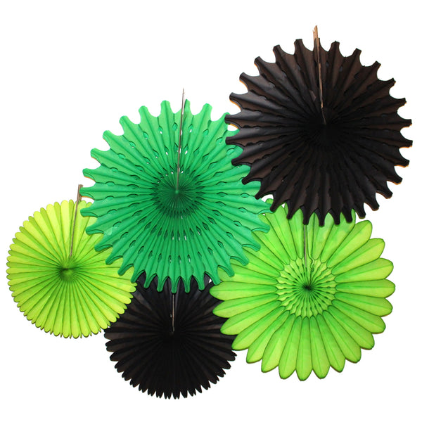 5-Piece Tissue Paper Fans, 13 & 18 Inches - Black Green Party
