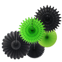 5-Piece Set of Tissue Paper Fans, 13 & 18 Inches - Black & Lime