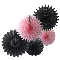 5-Piece Set of Tissue Paper Fans, 13 & 18 Inches - Black & Pink