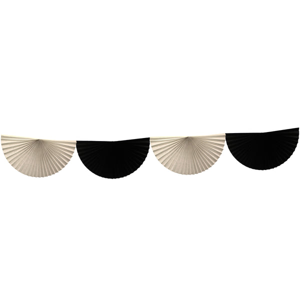 10 Foot Black & White Bunting Garland (Solid Scallops)