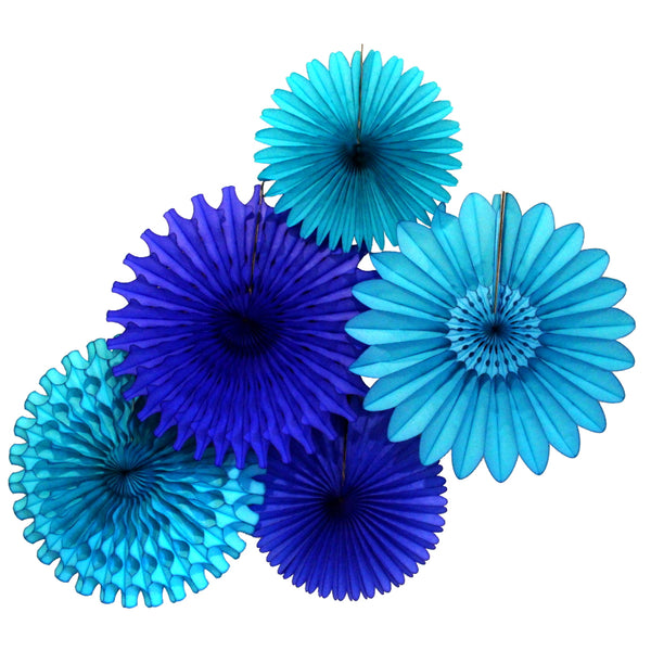 5-Piece Tissue Paper Fans, 13 & 18 Inches - Blue Skies