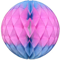 Blue & Pink Striped Honeycomb Balls, 3-Pack (Assorted Sizes)