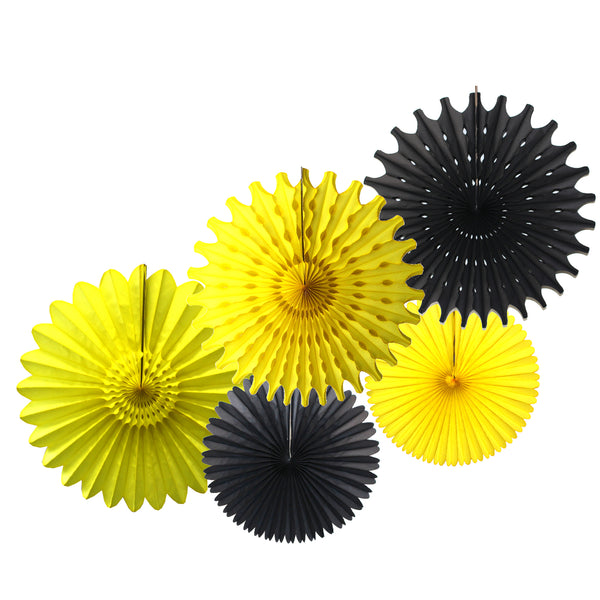 5-Piece Tissue Paper Fans, 13 & 18 Inches - Bumblebee Black & Yellow