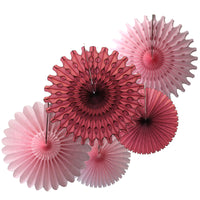 5-Piece Set of Tissue Paper Fans, 13 & 18 Inches - Maroon & Pink