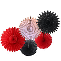 5-Piece Set of Tissue Paper Fans, 13 & 18 Inches - Red, White, & Black