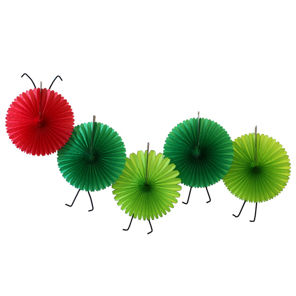 5-Fan Set of Caterpillar Themed 13 Inch Party Fans