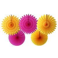 5-Piece Tissue Paper Fans, 13 & 18 Inches - Cerise & Gold