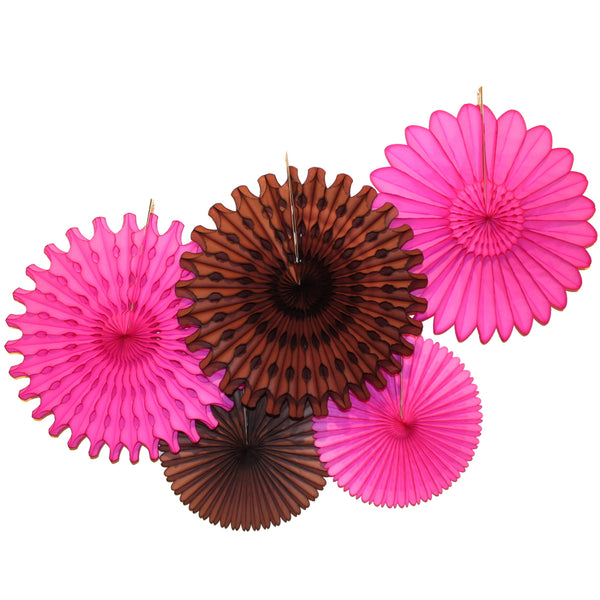 5-Piece Tissue Paper Fans, 13 & 18 Inches - Cerise & Brown