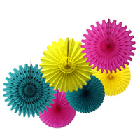6-Piece Tissue Paper Fans, 13 & 18 Inches - Cerise, Yellow, & Teal