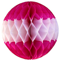 Cerise & White Striped Honeycomb Balls, 3-Pack (Assorted Sizes)