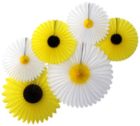 Set of 6 Sunflower & Daisy Fans - 13, 18, 20 Inch