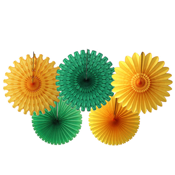 5-Piece Tissue Paper Fans, 13 & 18 Inches - Dark Green & Gold
