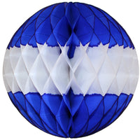 Dark Blue & White Honeycomb Balls, 3-Pack (Assorted Sizes)