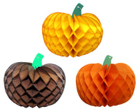 10 Inch Honeycomb Pumpkins (Assorted 3-pack)