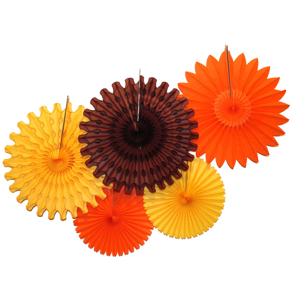 5-Piece Tissue Paper Fans, 13 & 18 Inches - Fall Orange Gold & Brown