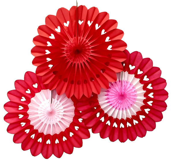 3-Pack 27 Inch Valentine's Heart Fanbursts - MULTIPLE OPTIONS