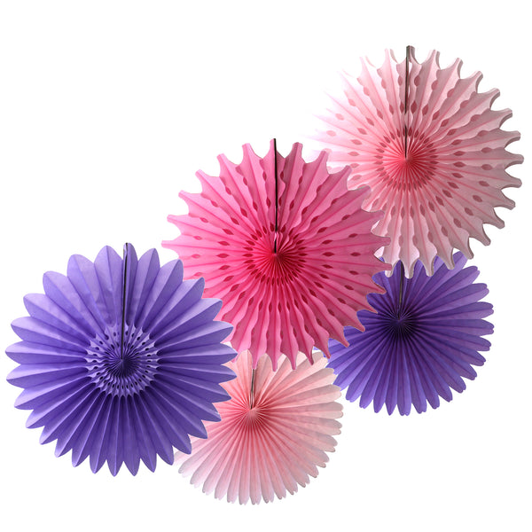 5-Piece Tissue Paper Fans, 13 & 18 Inches - Lavender Pink