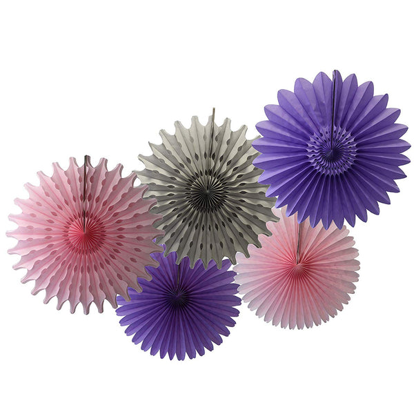 5-Piece Tissue Paper Fans, 13 & 18 Inches - Lavender, Pink & Gray
