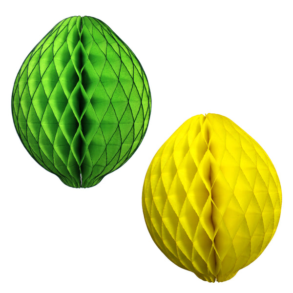 14 Inch Honeycomb Lemon or Lime Decoration (3-Pack)