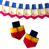 3-Piece Chanuka Decoration Set - Multi Rainbow