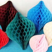 12 Inch Honeycomb Oval Ornament Decoration - 6-Pack - MULTIPLE COLORS