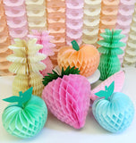 10 Inch Strawberry Decorations - Pink White Mix - Set of 3