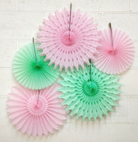 5-Piece Set of Tissue Paper Fans, 13 & 18 Inches - Mint & Pink