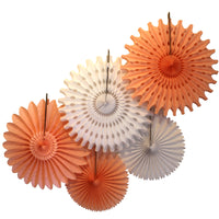 5-Piece Tissue Paper Fans, 13 & 18 Inches - Peach & White