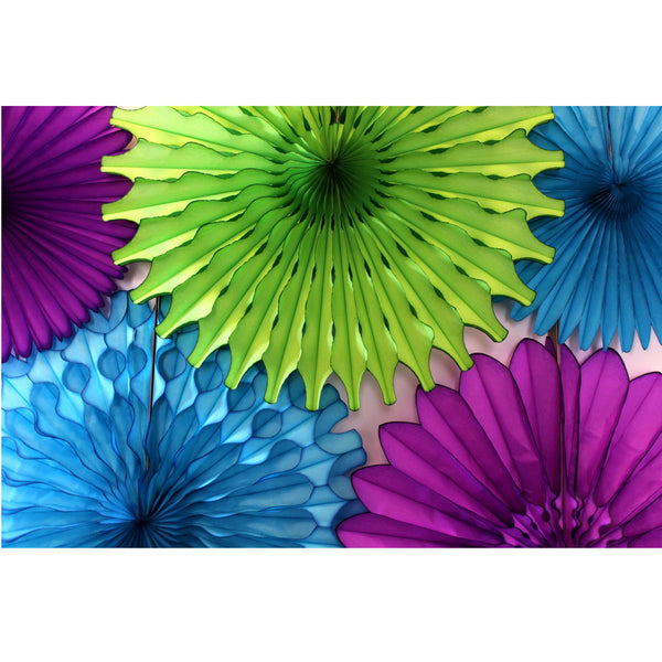 5-Piece Tissue Paper Fans, 13 & 18 Inches - Peacock Purple Turquoise Lime