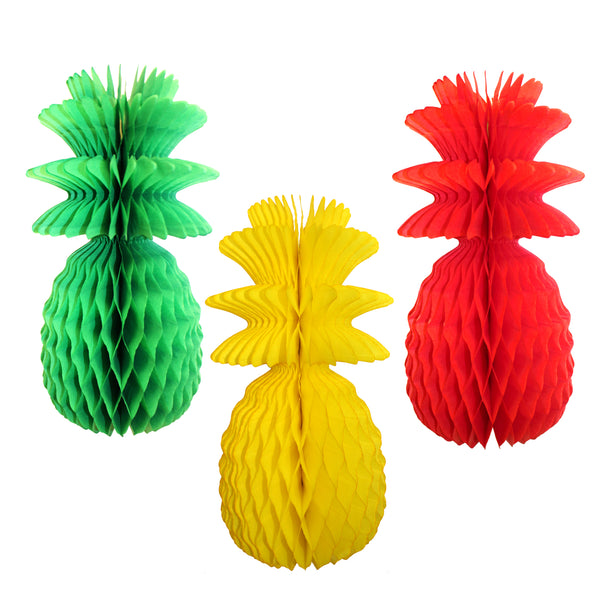 3-Pack 13 Inch Rasta Themed Honeycomb Pineapples (Solid)