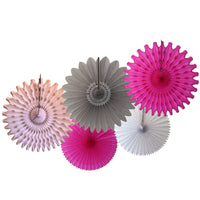 5-Piece Tissue Paper Fans, 13 & 18 Inches - Gray White Cerise